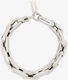 14K white gold medium square link bracelet