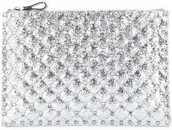 Rockstud glitter clutch bag - Grey