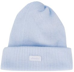 ribbed knit beanie hat - Blue