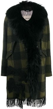 checked faux-fur trimmed coat - Green