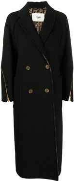 zip-embellished double-breasted coat - Black