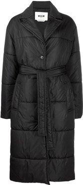 long-length padded coat - Black
