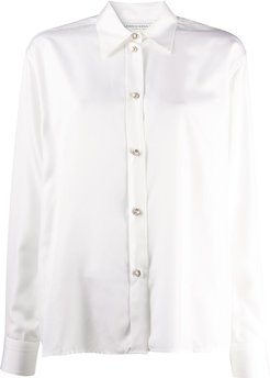 faux pearl-button shirt - White