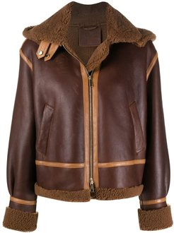 tonal sheepskin jacket - Brown