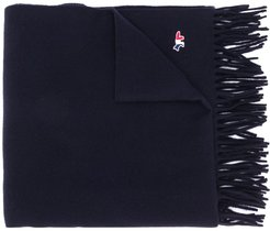 embroidered-logo wool scarf - Blue