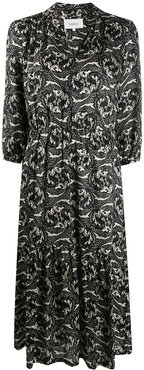 paisley print midi dress - Black