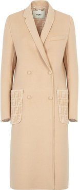 asymmetric-lapel monogram-pocket coat - Neutrals