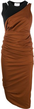 ruched fitted evening dress - Brown
