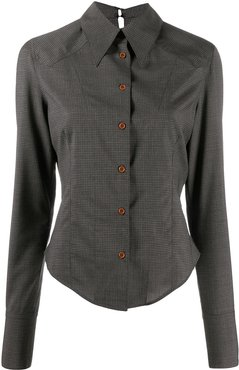 fitted check wool shirt - Grey