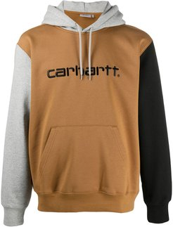 colour-block embroidered logo hoodie - Grey