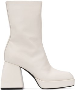 square-toe heeled boots - White