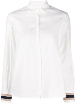 embroidered-cuff shirt - White