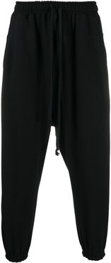 extended drawstring drop-crotch sweatpants - Black