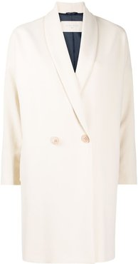 boxy fit buttoned coat - White