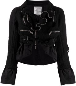 zip ruffle jacket - Black