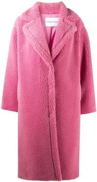 oversized faux shearling coat - PINK