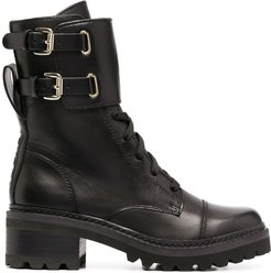 lace-up side buckle boots - Black