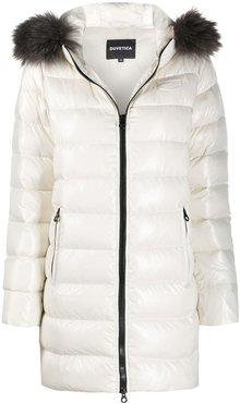 padded hooded coat - Neutrals