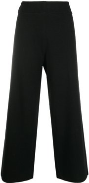 wide-leg cropped trousers - Black