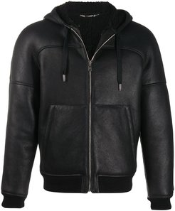lambskin hooded jacket - Black