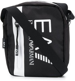 logo-print messenger bag - Black
