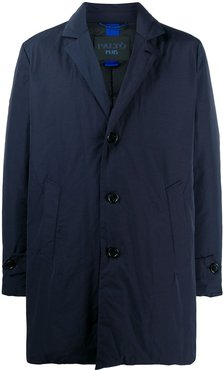 feather down single-breasted coat - Blue