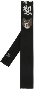 embroidered motif tie - Black