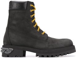 suede lace-up boots - Black