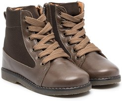 Chaki canvas-panel ankle boots - Brown