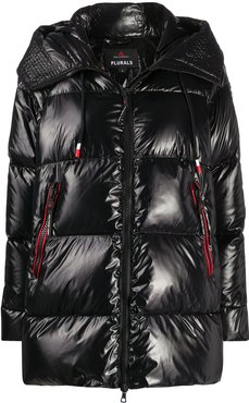 quilted hooded coat - Black