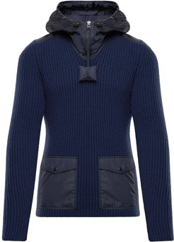 T-neck knitted hoodie - Blue
