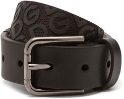 logo pattern belt - Black