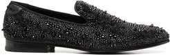 crystal-accented moccasins - Black