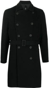 double breasted belted trench coat - Black