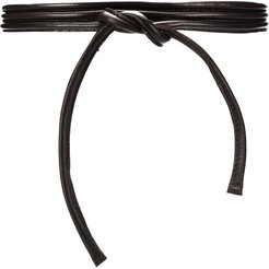 tied leather belt - Brown