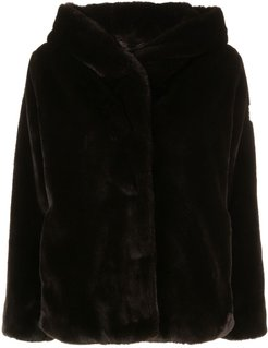 faux fur hooded jacket - Brown