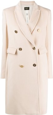 fitted double breasted coat - Neutrals
