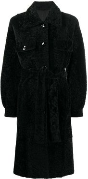 shearling button-up coat - Black