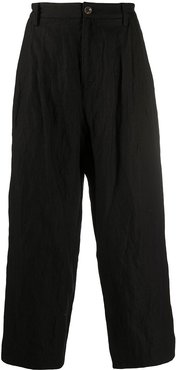 wide leg cropped trousers - Black