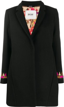 embroidered single-breasted coat - Black