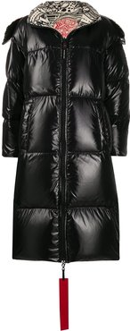 hooded padded coat - Black