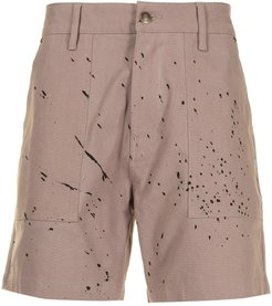 paint splatter shorts - Neutrals