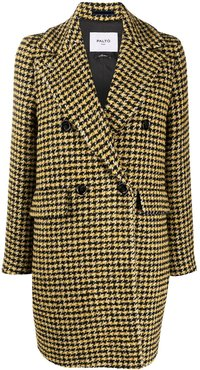 houndstooth double-breasted coat - Yellow