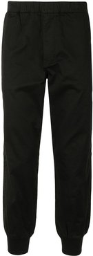 tapered cut elasticated trousers - Black