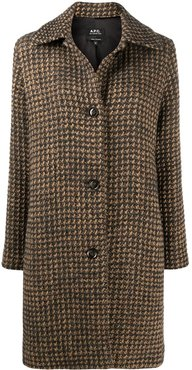 Woven Check single-breasted coat - Neutrals