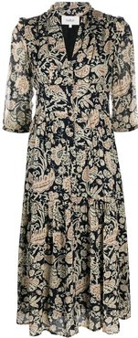 Aline floral-print dress - Black
