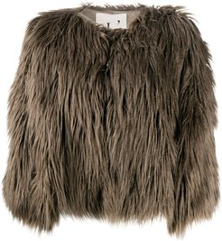 faux-fur jacket - Brown