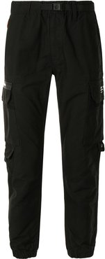 belted cargo cotton trousers - Black
