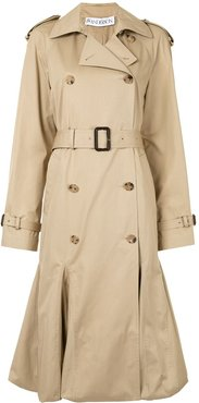 pleated cape-style trench coat - Brown