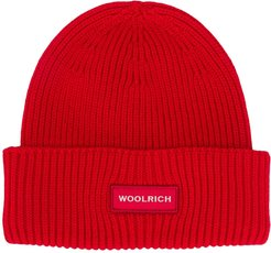 logo patch ribbed knit beanie - Red